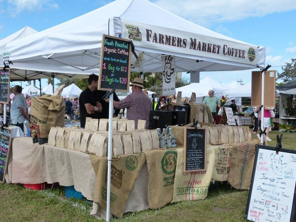 Image of the coffee stand at the Marco Island Farmers Market || Escape to Marco