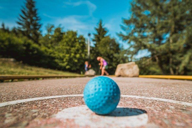 up close view of ball on mini golf course